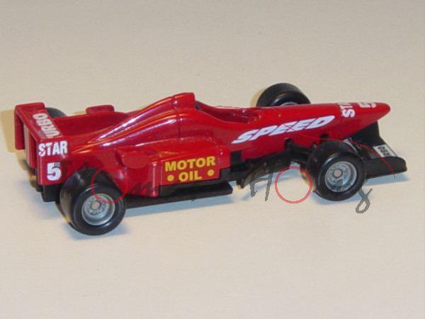 Formel 1 Rennwagen, karminrot/schwarz, Sitz schwarz, SPEED / MOTOR / OIL / STAR / 5 / TURBO, Chassis