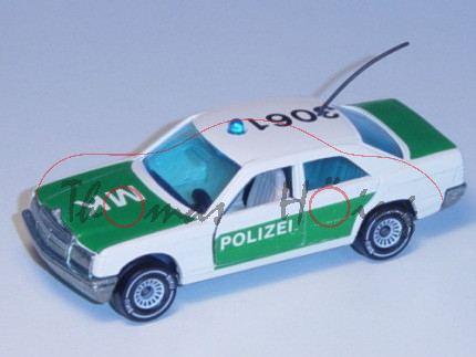 00000 Mercedes-Benz 190 E (Baureihe W 201) Peterwagen, Modell 1982-1988, POLIZEI 3061, cremeweiß, B4