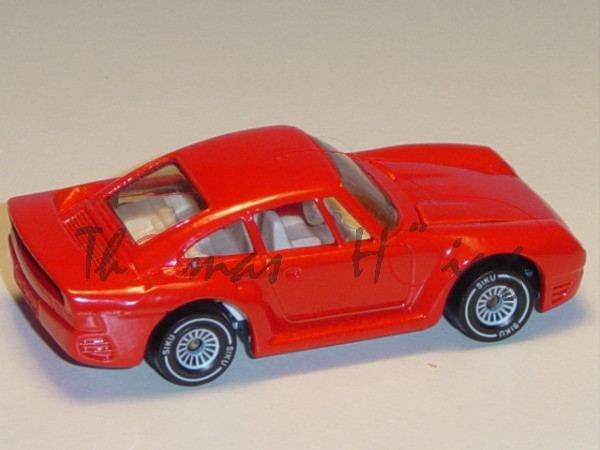 00001 Porsche 959 (Modell 1986-1988), verkehrsrot, innen reinweiß, Lenkrad reinweiß, Heckflügel offe