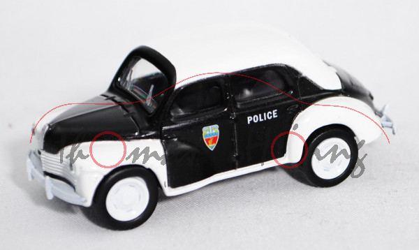 Renault 4CV (Modell 1946-1961, Baujahr 1946) Police, schwarz, Dach und Kotflügel reinweiß, POLICE