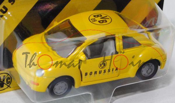 VW New Beetle 2.0 (Typ 9C), Modell 1998-2001, zinkgelb, BvB 09 Dortmund, Werbeblister