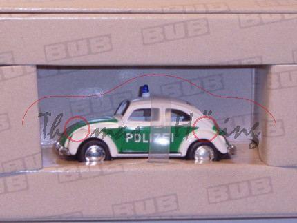 VW Käfer 1960 Polizei, reinweiß/minzgrün, POLIZEI, BUB, 1:87, Limitierte Auflage von 1000 Stück, mb