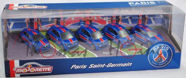 PARIS SAINT-GERMAIN Set, Renault Mégane R.S. + Renault Twingo, enzianblau, majorette, mb