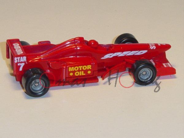 Formel 1 Rennwagen, karminrot, SPEED / MOTOR / OIL / STAR / 7 / TURBO, Nr. 7, mit rotem Fahrer