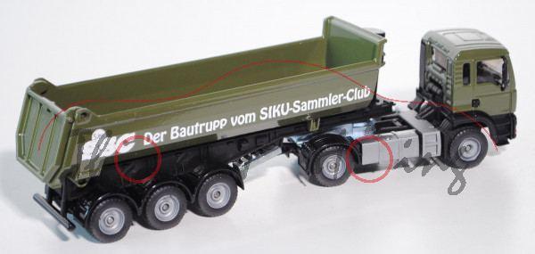 00414 MAN TGA 18.460 M Halfepipe-Sattelkipper, Modell 2000-2007, olivgrün/mattschwarz, SSC / Der Bau