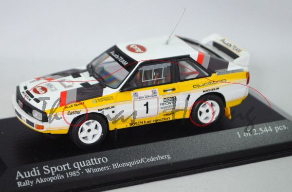 Audi Sport quattro Gr. B, Akropolis Rallye 1985, Blomqvist / Cederberg, Nr. 1, Minichamps, 1:43, mb