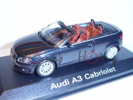 Audi A3 Cabriolet, Mj. 2008, phantomschwarz, Minichamps, 1:43, Werbeschachtel