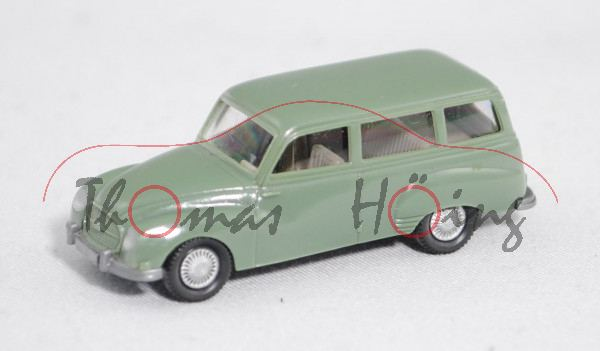 001a Auto Union 1000 Universal (Typ Modell 1960, Modell 1959-1961), resedagrün, Wiking, 1:87, m-