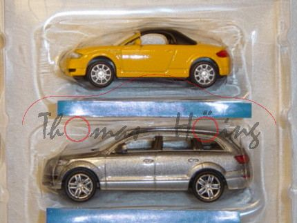 Audi TT Roadster, Mj. 99, hell-chromgelb, mit Soft Top und Audi Q7, Mj. 2005, silbermetallic, Carara