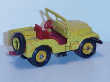 Standard Jeep, signalgelb, Chassis schwarz, innen feuerrot, mit Anhängerkupplung, Matchbox Series