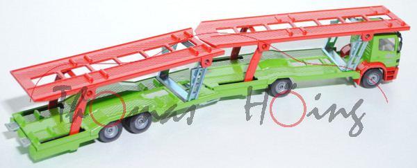 00403 Mercedes Atego PKW-Transporter, grün/rot, SSC / 2001, SSC Sondermodell September 2001, L11n