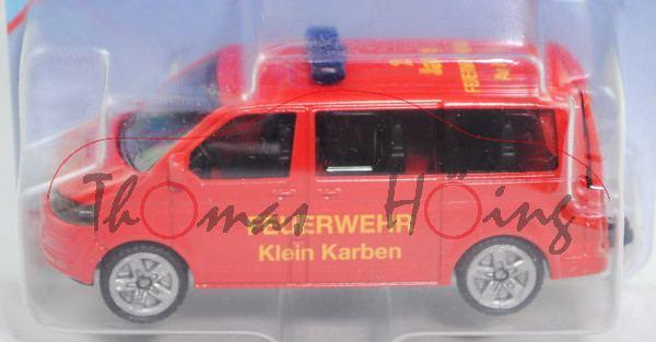 VW T5 facelift (Modell 2009-2015), rot, FEUERWEHR / Klein Karben, P29e (mit Zertifikat)