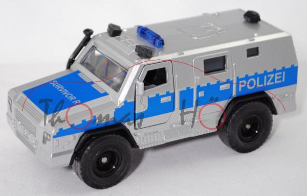 00000 RMMV SURVIVOR R 4x4 (Modell 2016-) Polizei, silber/blau, SIKU SUPER 1:50, L17mpP
