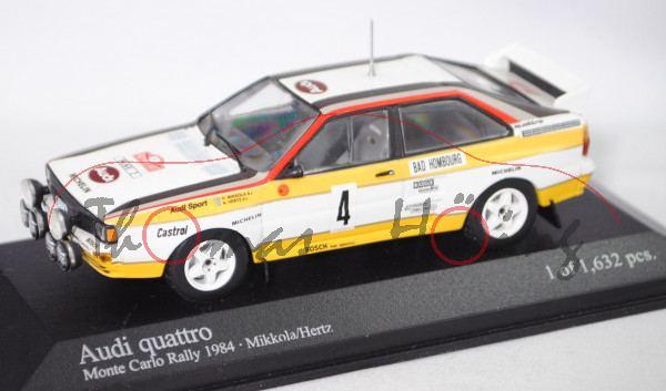 Audi quattro A2 Gruppe B, Rallye Monte Carlo 1984, Mikkola / Hertz, Nr. 4, Minichamps, 1:43, PC-Box