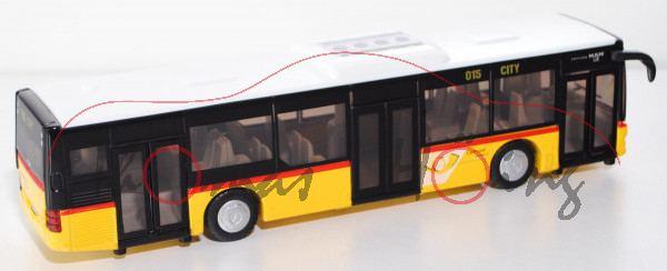 Stadtbus MAN Lion\'s City Solobus mit 3 Türen (Typ A37, Modell NL 243), weiß/gelb, PostAuto DIE POST