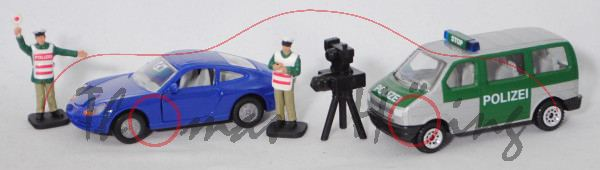 00000 Set Radarfalle: VW T4 facelift Caravelle+Porsche 911 Carrera+2 Polizisten+Radarmessgerät, P31o