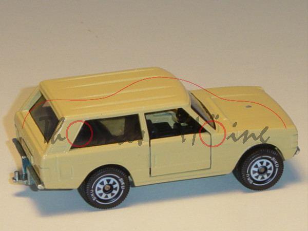 Range Rover «Classic» Dreitürer, Modell 1970-1985, hellbeige, innen schwarz, Lenkrad schwarz, Vergla