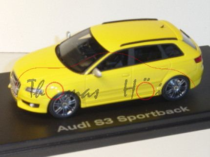 Audi S3 Sportback, Mj. 09, imolagelb, Looksmart, 1:43, Werbeschachtel (limitierte Auflage 500 Stück)