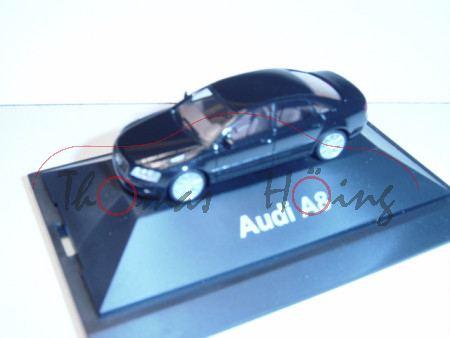 Audi A8, Mj 05, schwarz, Herpa, 1:87, Werbeschachtel