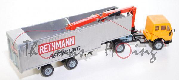Mercedes 2232 Recycling-Transporter, melonengelb/silber/schwarz, RETHMANN / RECYCLING, LKW mit 2 Ach