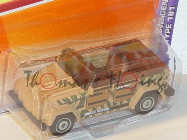 VW 181, Mj. 1974, beige, JUNGLE SAFARI, Matchbox, 1:59, Blister