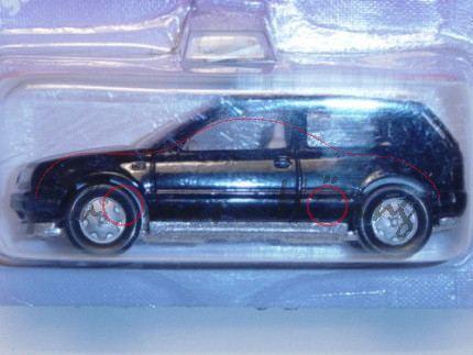 VW Golf III 1.8 GL (Typ 1H, Dreitürer), Modell 1991-1995, schwarz, VW-Zeichen in silber im Grill, Ch