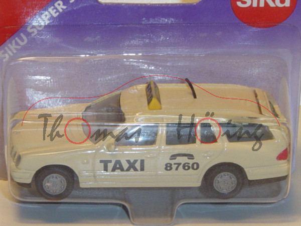 00000 Mercedes-Benz E 290 Turbodiesel T (Baureihe S 210, Mod. 96-99) Taxi, hellelfenbein, P26 offen