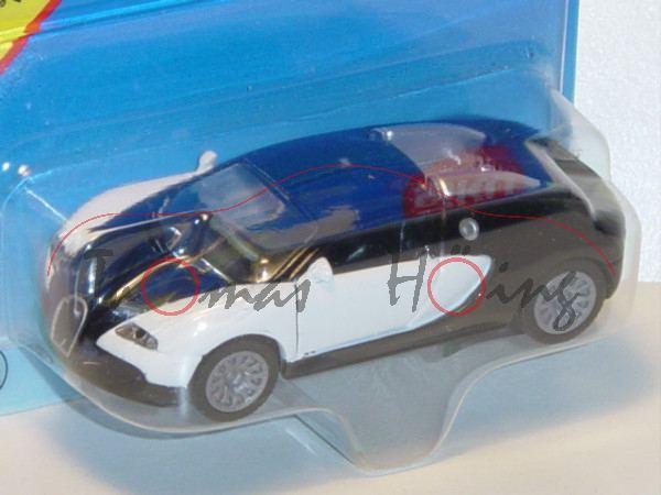 00004 Bugatti EB 16.4 Veyron (Modell 2005-2012), reinweiß/schwarz, innen schwarz, Lenkrad schwarz, B