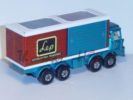 Scammell Freight Liner, wasserblaumetallic, chrom, Lep / INTERNATIONAL TRANSPORT, Matchbox Super Kin