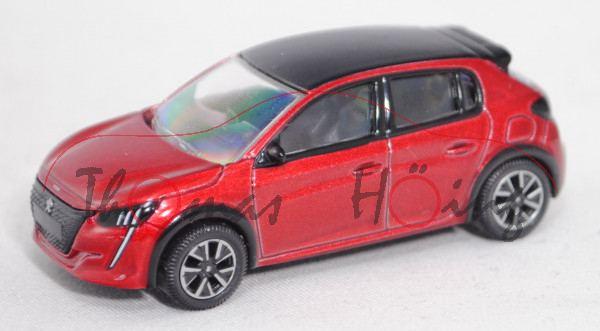 Peugeot 208 II 1.2l (2. Gen., Mod. 2019-), elixir rot, Dach perla nera schwarz, ca. 1:64, Norev, mb