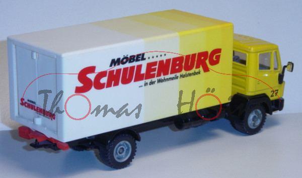 Mercedes LN-2 Koffer LKW, kadmiumgelb/schwarz, MÖBEL ..... / SCHULENBURG / ... In der Wohnmeile Hals