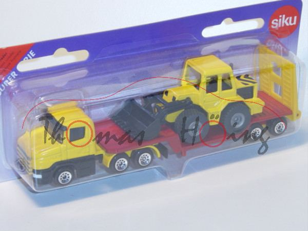 00000a Scania CT14 (Typ Serie 4, T-Fahrerhaus, Basis, Mod. 95-04) Tieflader mit Frontlader, kadmiumg
