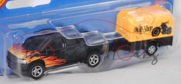 Pick-Up (vgl. Dodge RAM 1500 Quad Cap, 3. Gen., Facelift, Mod. 06-09) mit Anhänger und Plane, schwar
