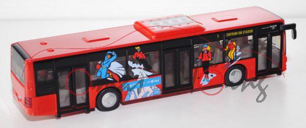 03800 Stadtbus MAN Lion\'s City Solobus mit 3 Türen (Typ A37, Modell NL 243), rot, Schifoan is leiwa