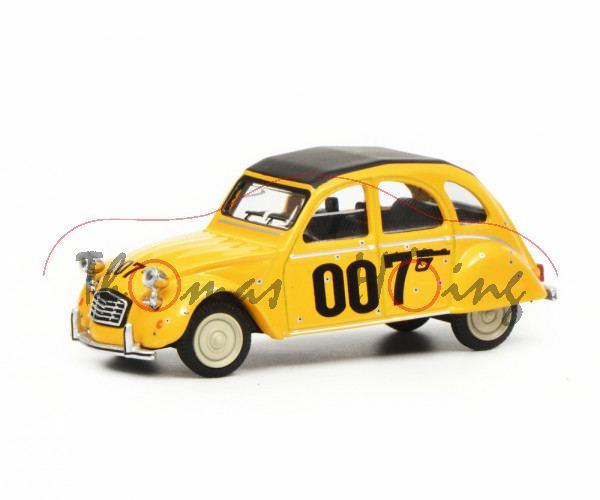 Citroen 2CV 6 007 (Sondermodell 81), gelb, Dach schwarz, 007 + Pistole auf Seiten, Schuco, 1:64, mb