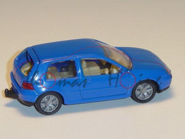 00002 VW Golf IV 1.8 T, Modell 1997-2003, hell-ultramarinblau, innen beige, Lenkrad beige, neue Felg