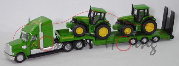 00000 FREIGHTLINER CORONADO mit Tieflader und John Deere Traktoren, grün/gelb, 1:87, L17mK
