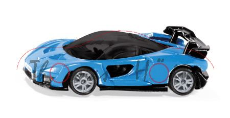 00000 McLaren Senna, blau/schwarz, innen schwarz, B49 geschlossen silbergrau, SIKU, P29e ab 9/20 da