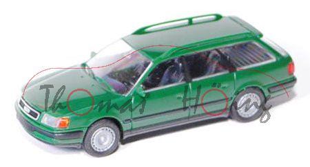 Audi 100 Avant (C4), Modell 1991-1994, moosgrün, mit Radblenden, Rietze, 1:87, Werbeschachtel