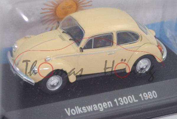 Volkswagen 1300 L / Käfer 1300 L (Typ 11, Modell 1980-1984), gelb, EDITION ATLAS, 1:43, Hauben-Box