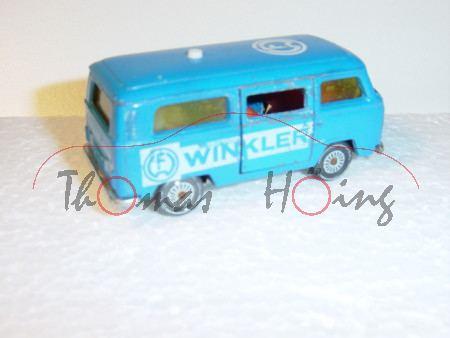 VW Bus (Typ T2b, Modell 1972-1979), himmelblau, innen rotorange, Lenkrad integriert, FW WINKLER, Ver