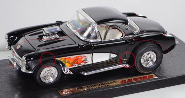 Chevrolet Corvette Convertible Gasser (C1, Baujahr 1957), schwarz, ROAD LEGENDS / Yatming, 1:18, mb