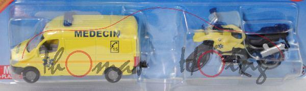 00100 F Rettungsdienst Set: Mercedes-Benz Sprinter II Rettungswagen und BMW R1200 GS Motorrad, P29e