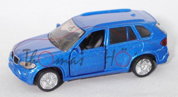 00002 BMW X5 4.8i (Typ E70, Modell 2006-2010), dunkel-verkehrsblaumetallic, B36a silber, Tüte