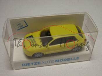 Audi A3 3-türig, gelb, Modell & Hobby 96, Rietze, 1:87, mb