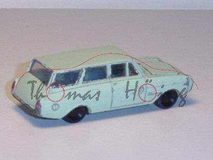 Ford 17M Turnier, weißgrün, innen lichtblau, Lenkrad schwarz, R1, mit Farbabplatzern, ein Einsatz mi