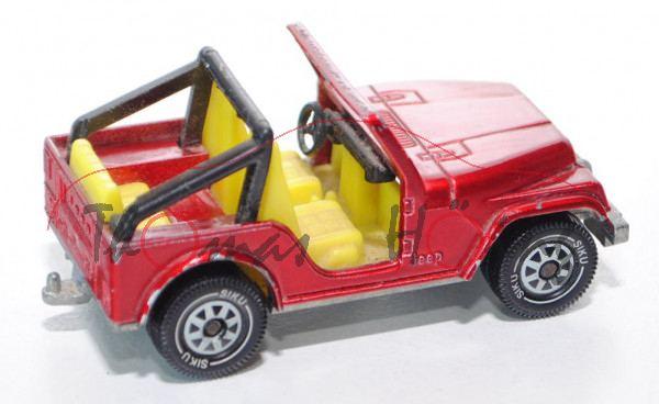 00004 Jeep CJ-5 2.5L (Modell 1980-1983), hell-rubinrotmetallic, innen zinkgelb, Lenkrad schwarz, Büg