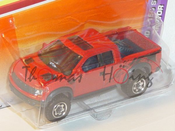 Ford F-150 SVT Raptor, Mj. 2010, feuerrot, Matchbox, 1:75, Blister