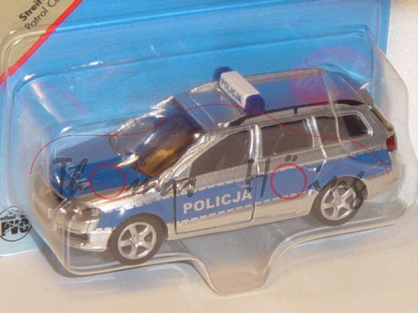 06000 PL VW Passat Variant 2.0 FSI (B6, Typ 3C) Streifenwagen, Modell 2005-2010, chromsilber/dunkelb