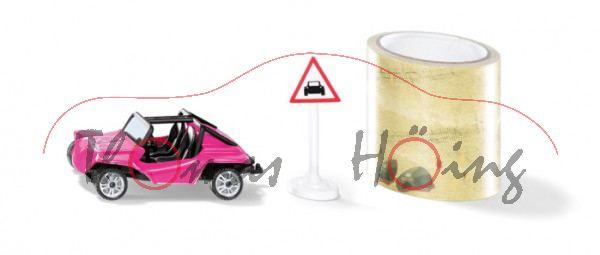 00000 Buggy mit Tape und Verkehrszeichen, erikaviolett, B47 geschl. silber, SIKU, P29e ab 6/20 da